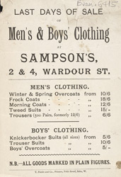 Advert for Sampson's, men's clothiers